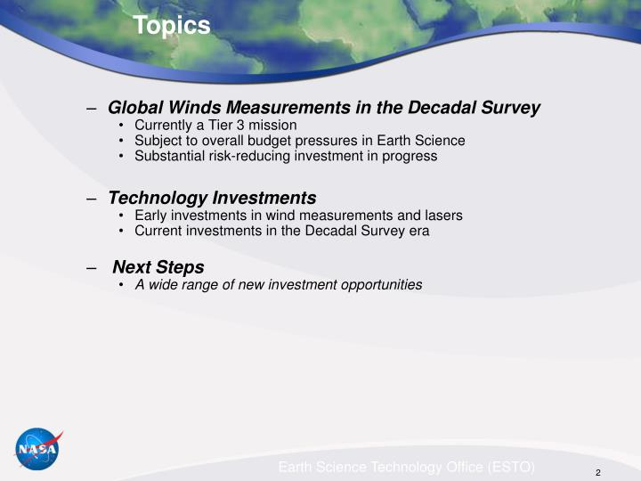 Global Winds Measurements in the Decadal Survey