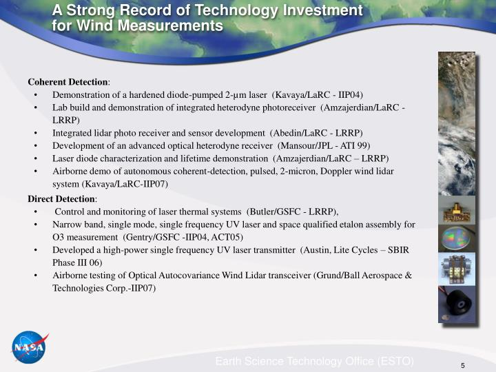 A Strong Record of Technology Investment for Wind Measurements