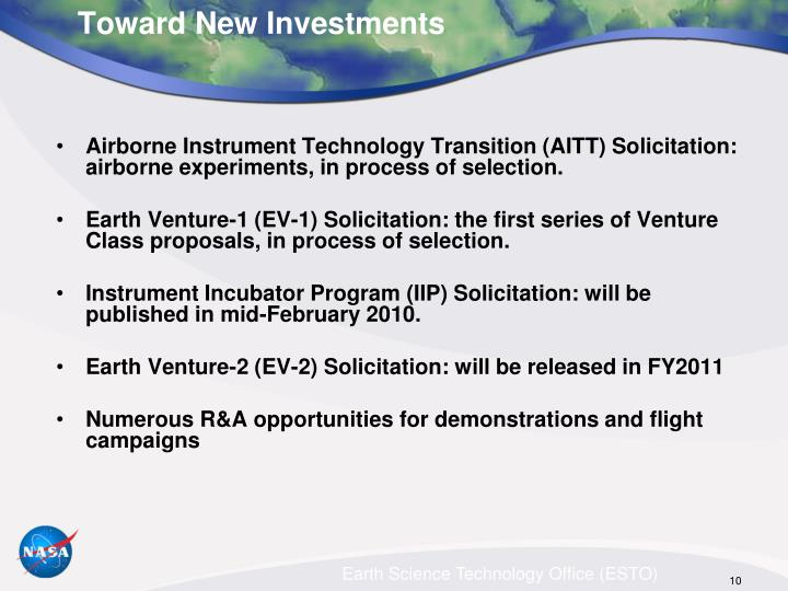 Airborne Instrument Technology Transition (AITT) Solicitation: airborne experiments, in process of selection.