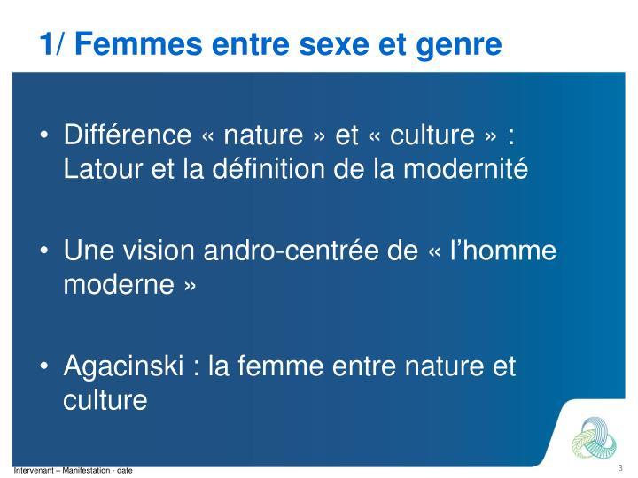 1/ Femmes entre sexe et genre