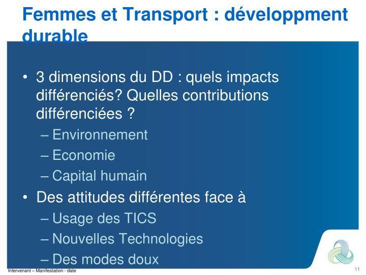 Femmes et Transport : développment durable