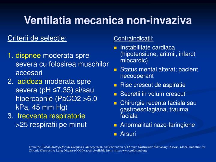 Ventilatia mecanica non-invaziva