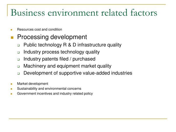 Business environment related factors