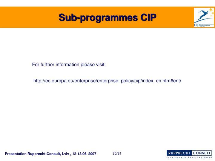 Sub-programmes CIP