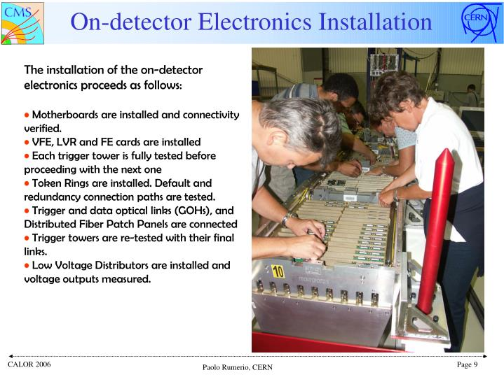On-detector Electronics Installation