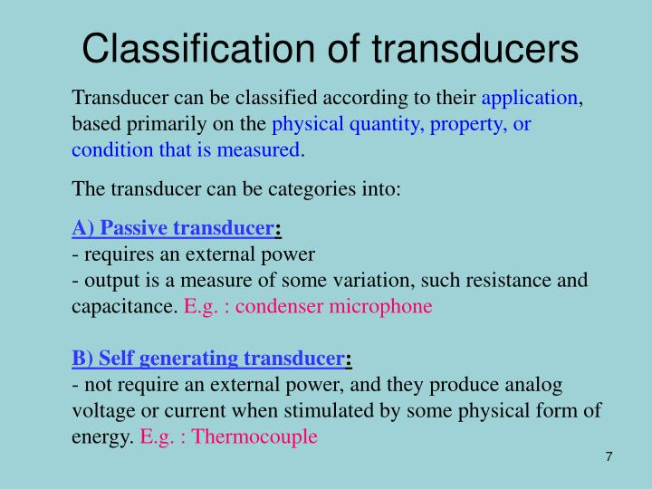 Classification of transducers