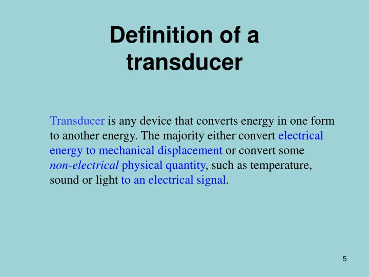 Definition of a transducer