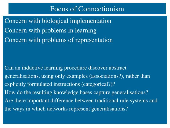 Focus of Connectionism
