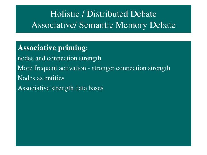 Holistic / Distributed Debate