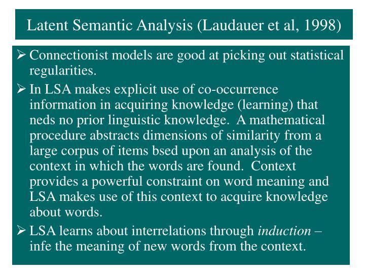 Latent Semantic Analysis (Laudauer et al, 1998)