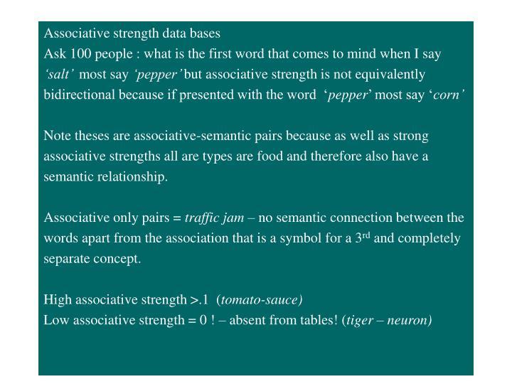 Associative strength data bases