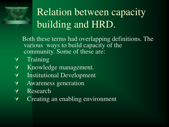 Relation between capacity building and HRD.