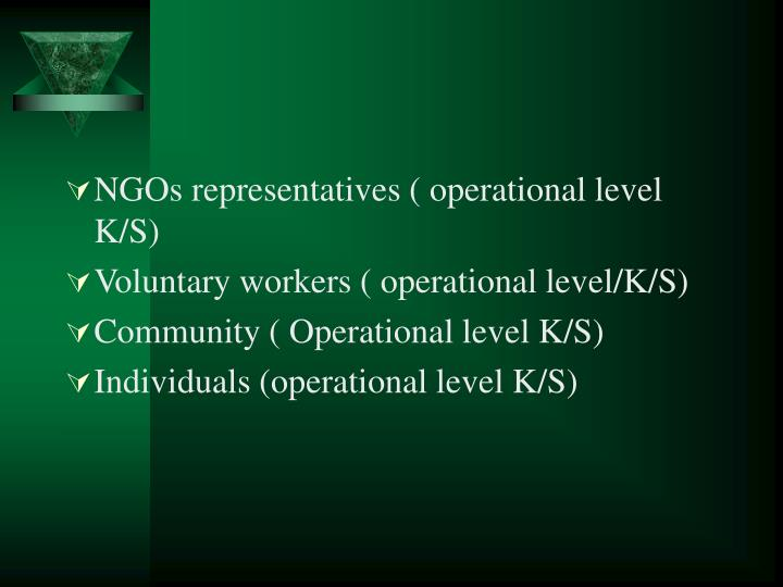 NGOs representatives ( operational level K/S)