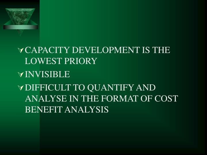CAPACITY DEVELOPMENT IS THE LOWEST PRIORY