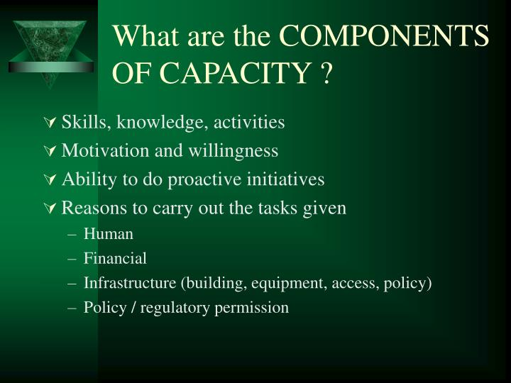 What are the COMPONENTS OF CAPACITY ?