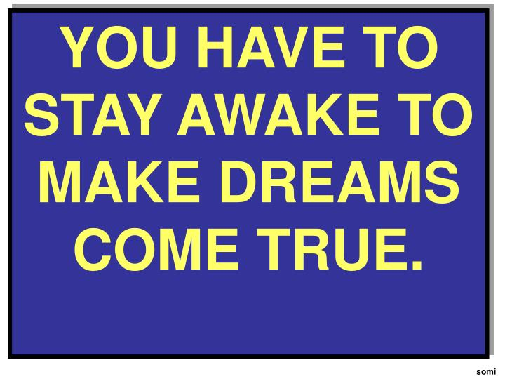 YOU HAVE TO STAY AWAKE TO MAKE DREAMS COME TRUE.