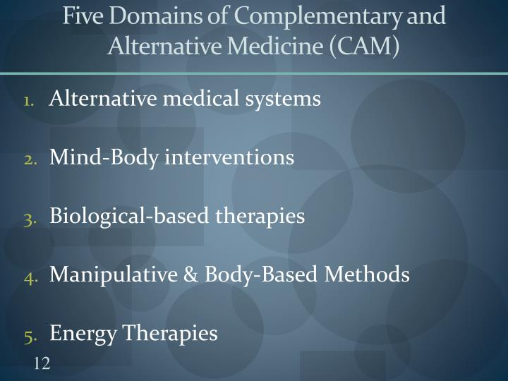 Five Domains of Complementary and Alternative Medicine (CAM)