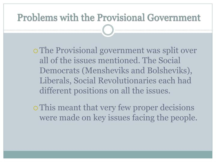 Problems with the Provisional Government