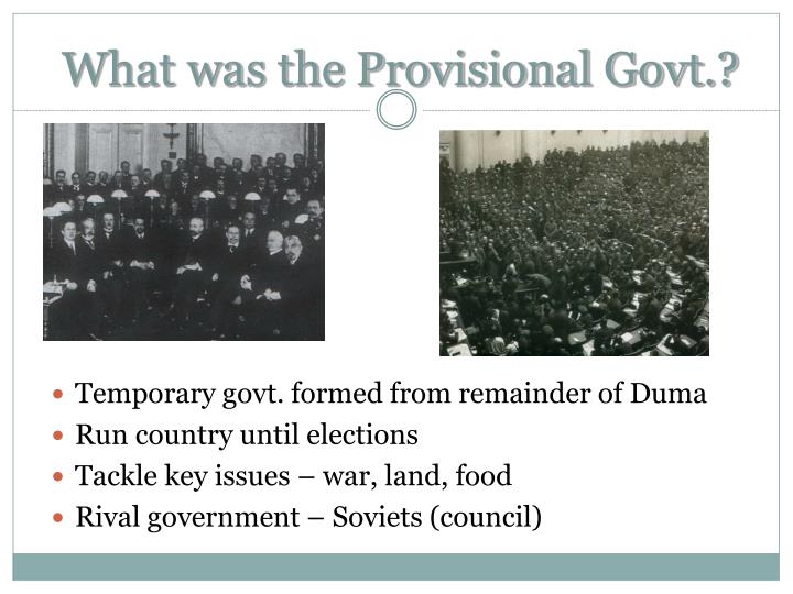 What was the provisional govt