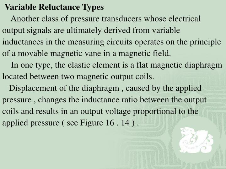 Variable Reluctance Types