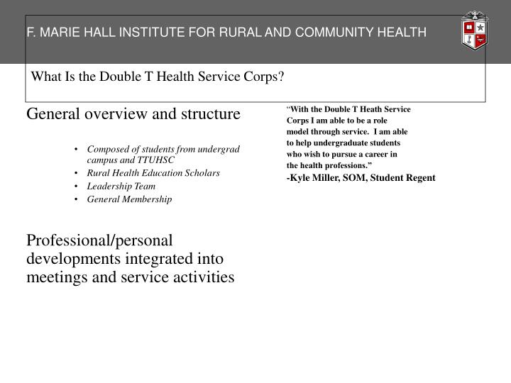 What Is the Double T Health Service Corps?