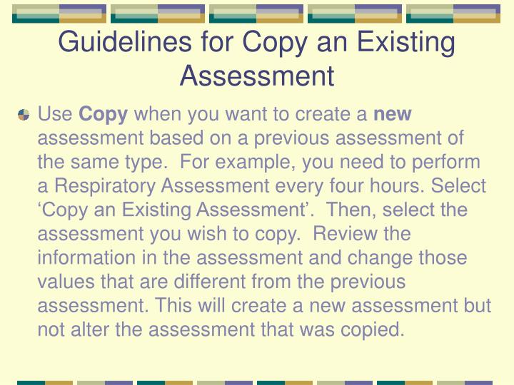 Guidelines for Copy an Existing Assessment