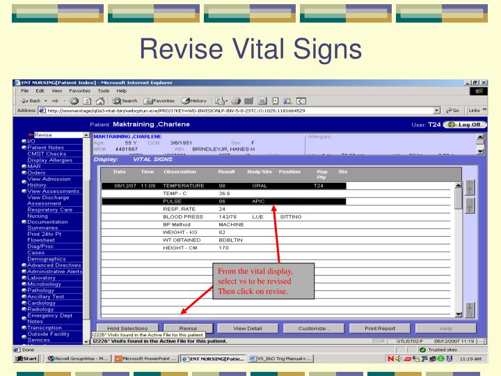 Revise Vital Signs