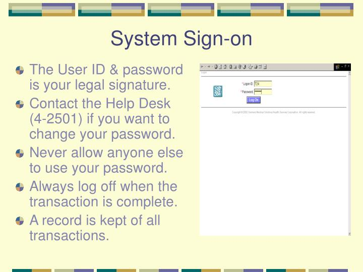 System sign on