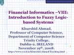 financial informatics viii introduction to fuzzy logic based systems