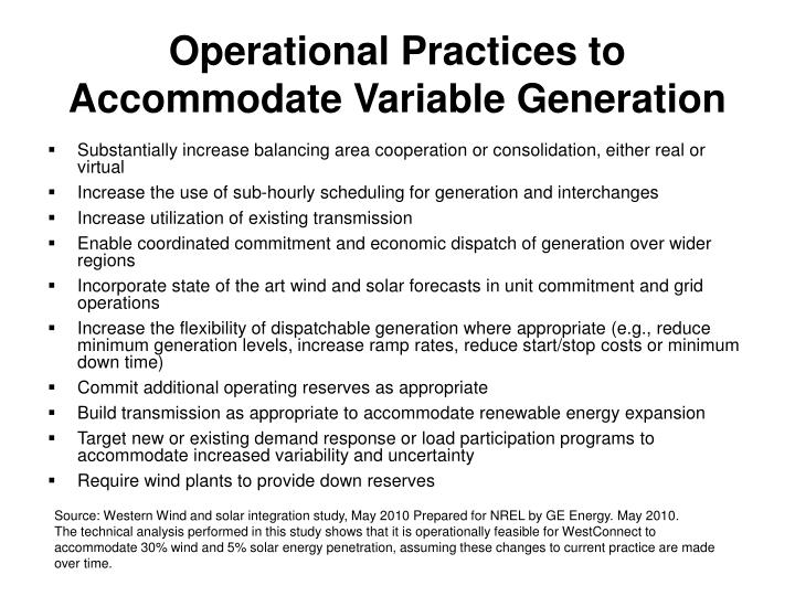 Operational Practices to Accommodate Variable Generation