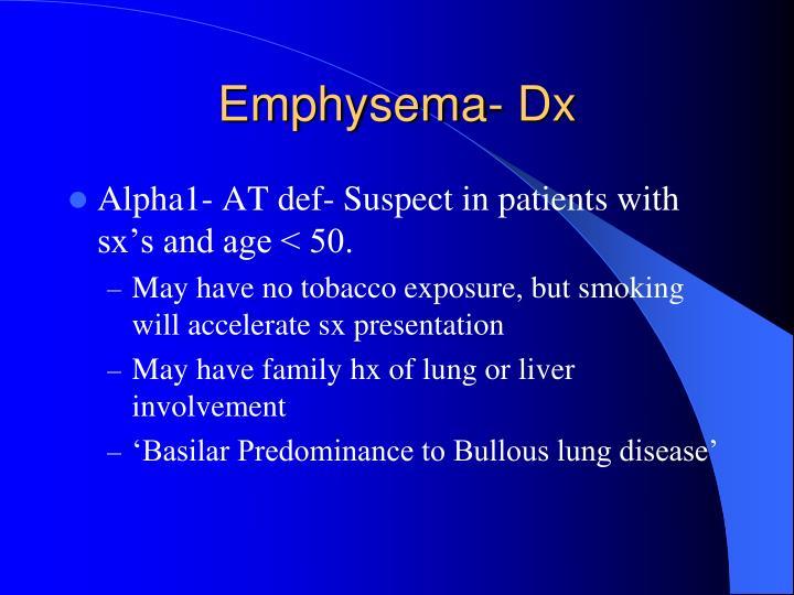 Emphysema- Dx