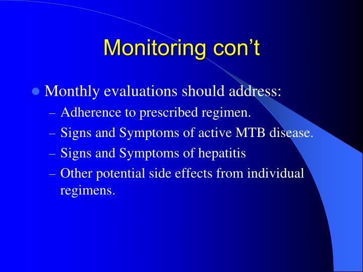 Monitoring con't