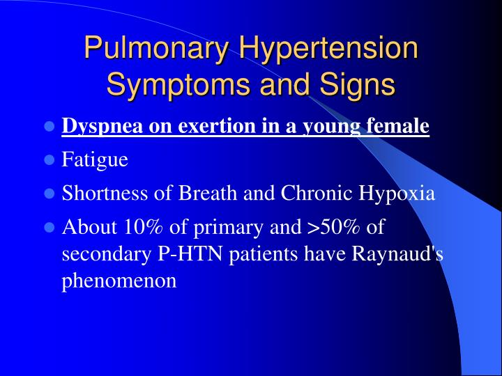 Pulmonary Hypertension Symptoms and Signs