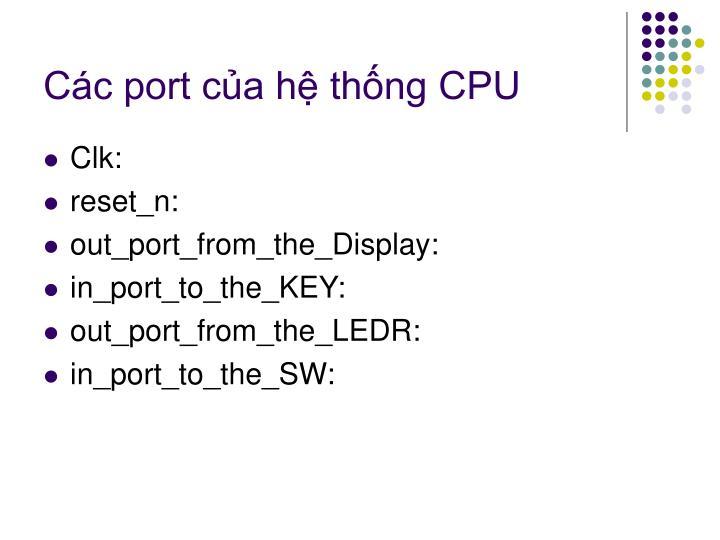 Các port của hệ thống CPU