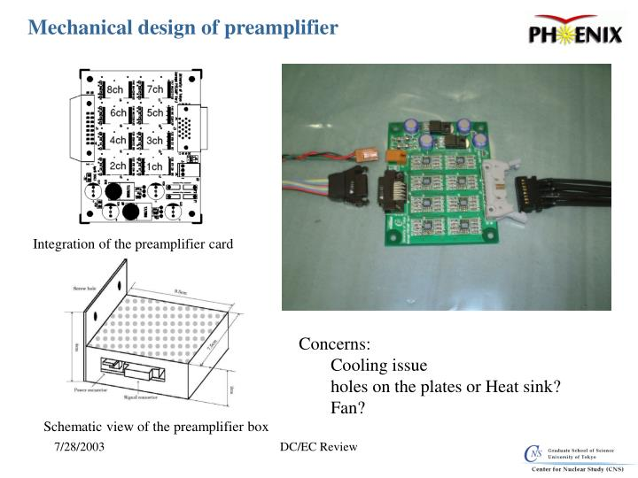 Mechanical design of preamplifier