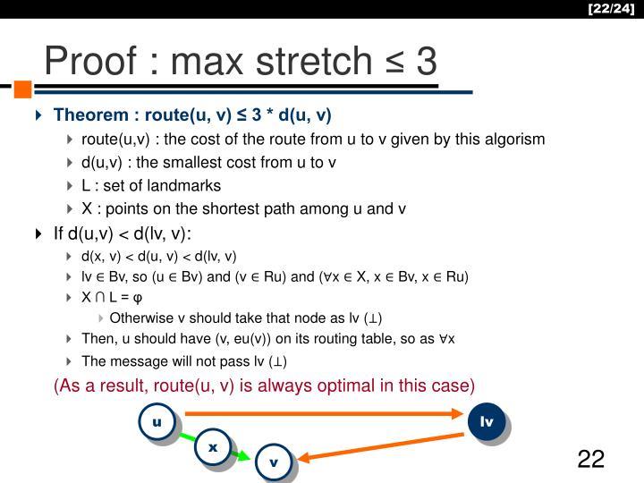 Proof : max stretch
