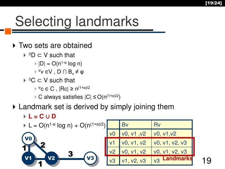 Selecting landmarks