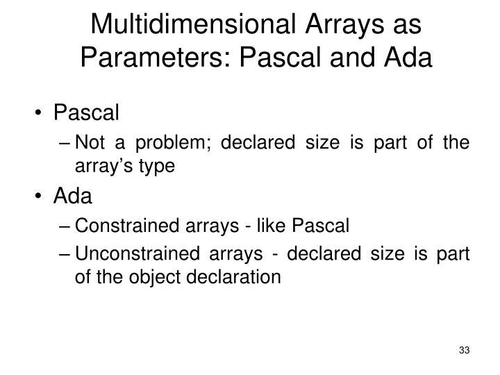 Multidimensional Arrays as Parameters: Pascal and Ada