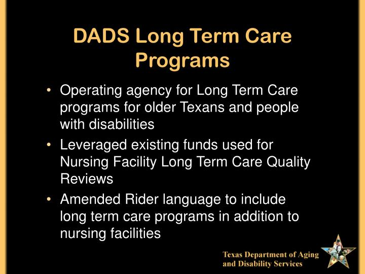 DADS Long Term Care Programs