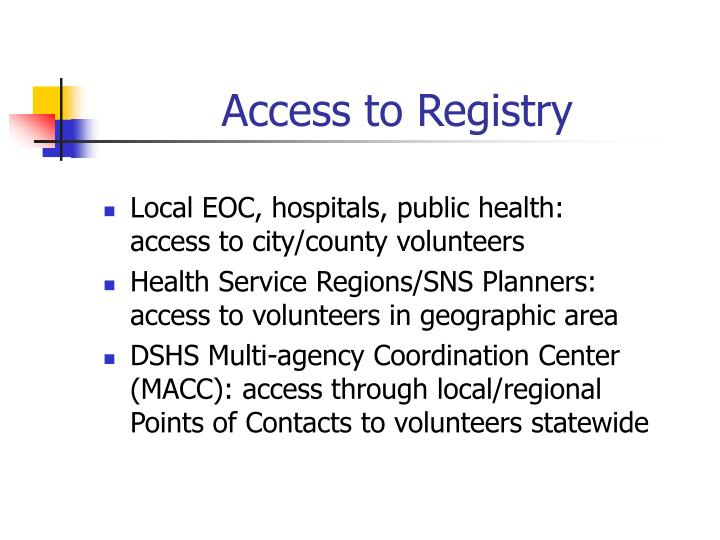 Access to Registry