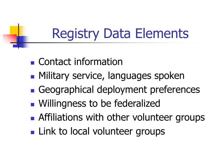 Registry Data Elements