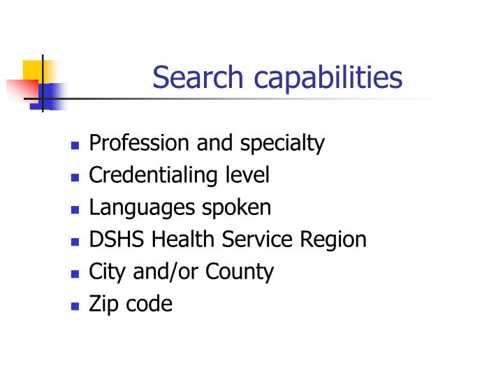 Search capabilities