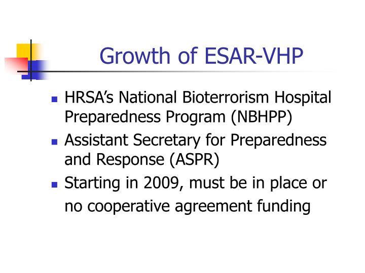 Growth of ESAR-VHP