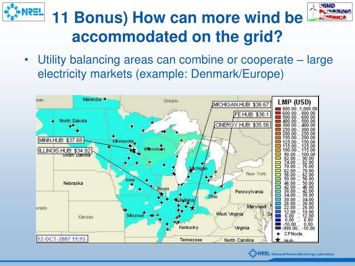11 Bonus) How can more wind be accommodated on the grid?