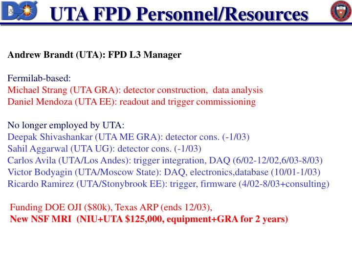 UTA FPD Personnel/Resources