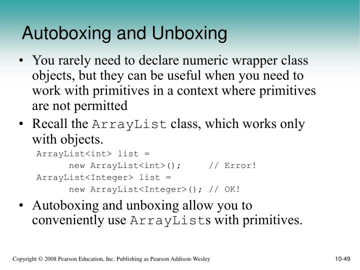 Autoboxing and Unboxing