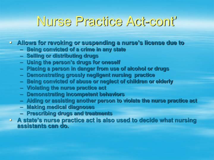 Nurse Practice Act-cont'