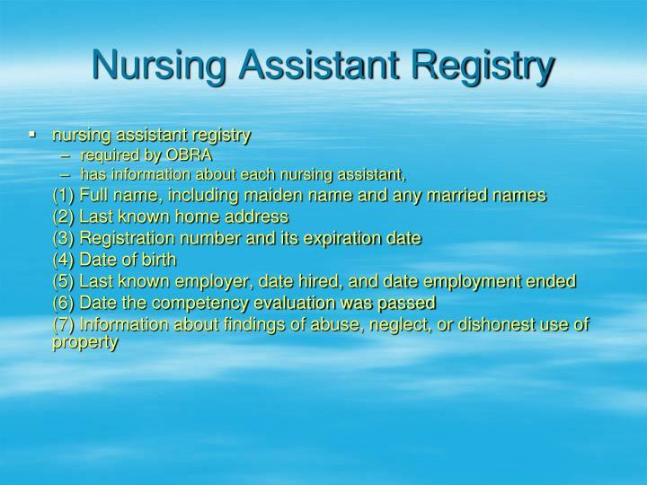 Nursing Assistant Registry