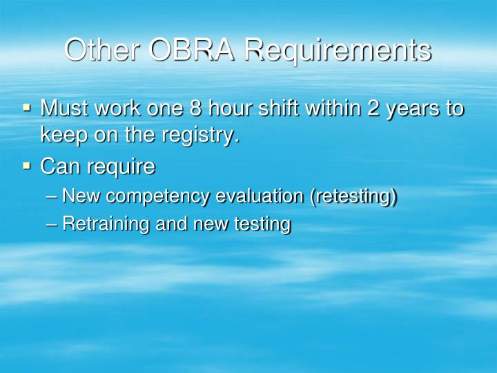 Other OBRA Requirements