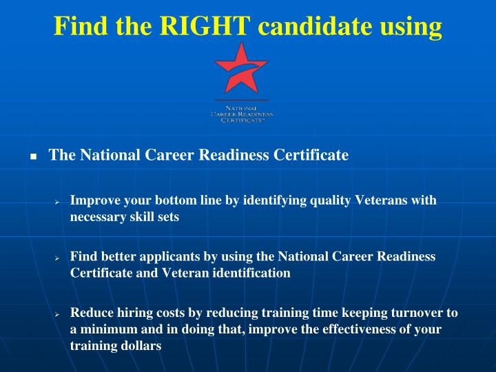Find the RIGHT candidate using